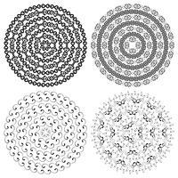 Texturas redondas monocromáticas étnicas.