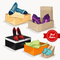 Fashion collection of woman's shoes vector