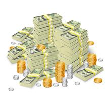 Concepto de billetes y monedas de pila de dinero