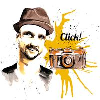 Man ink hipster vector