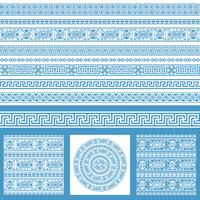 Vector set collections of ethnic Greece design elements. Ornamental seamless patterns and borders