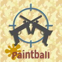 Pistolas de paintball y cartel de bienvenida.