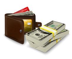 Billetera de piel con tarjeta de crédito y rollo bancario.