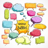 Doodle comic chat bubbles collection vector