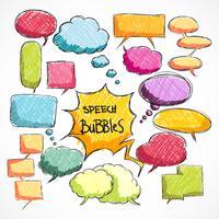 Doodle comic chat bubbles samling