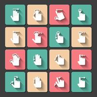 Hand touch gestures icons set