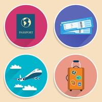 Vacaciones viajes viaje conjunto de iconos