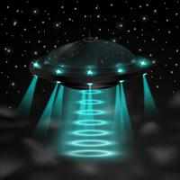 Flying ufo in the night vector