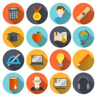 Iconos de e-learning plana