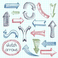 Arrows icon set sketch vector