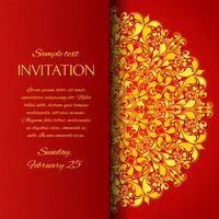 Red ornamental invitation card