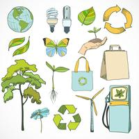 Doodles ecology and environment icons set vector