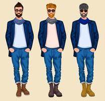 Conjunto de homem hipster