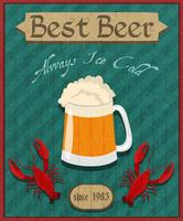 Cartel retro de cangrejos y cerveza.