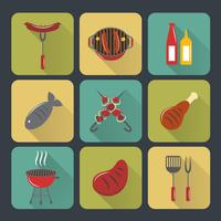 Bbq grill icons set plat