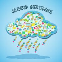 Emblema de serviço de tecnologia de rede em nuvem