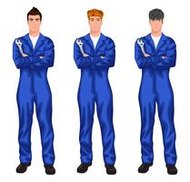 Auto mechanic worker set