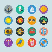 Summer sea holidays icons