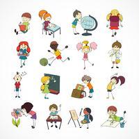 Esboço de doodle de crianças de escola
