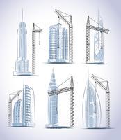 Skyskrapor byggnadskonstruktion ikoner uppsättning
