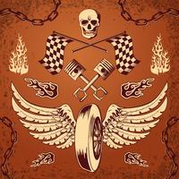 Motorcycle bike vintage design elements