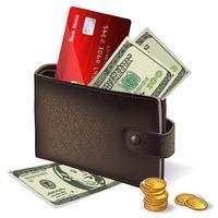Billetera con tarjeta de crédito, billetes y monedas.