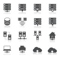 Hosting technology pictograms set