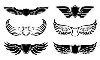 Abstract feather wings pictograms set vector