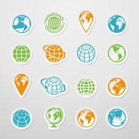 Sticker Wereldbolpictogrammen