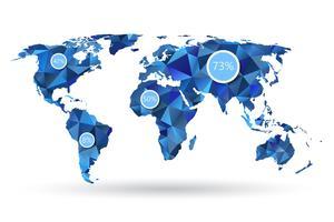 Polygonale Weltkarte mit Infografik-Elementen