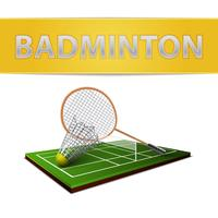 Badminton shuttlecock and racket emblem vector