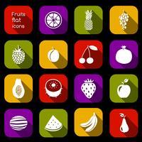 Fruits icons flat