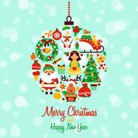 Forma de bola de los iconos de navidad