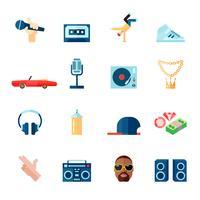 Íconos de la música rap establecidos planos vector