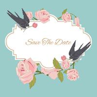 Vintage flowers background with birds