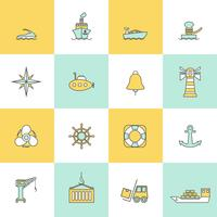 Sea Port Icons Flat Line Set