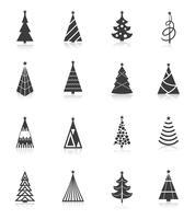 Iconos de arbol de navidad negros