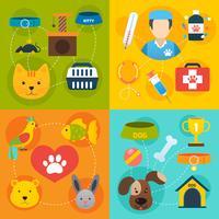 Iconos veterinarios establecidos planos