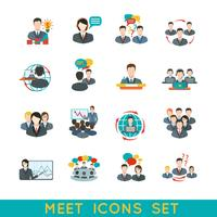 Meeting icons set flat
