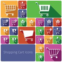 Shopping cart icons set flat