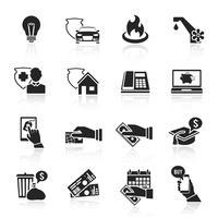 Betal faktura ikoner svart uppsättning