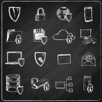 Data protection chalkboard icons vector