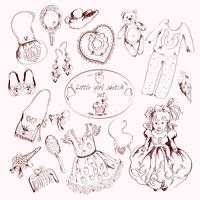 Little girl accessories set doodle sketch