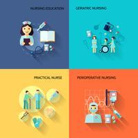 Set di icone di infermiera piatta