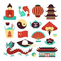 Conjunto de simbolos de china vector