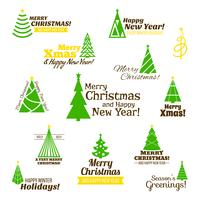Christmas tree stamps set vector