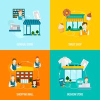 Store building flat set vector