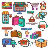 Boceto conjunto de iconos de comercio electrónico