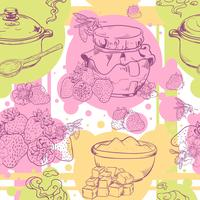 Strawberry jam seamless pattern