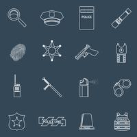 Police icons outline